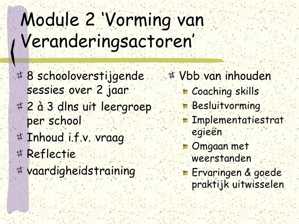 Module 2 'Vorming van Veranderingsactoren' 8 schooloverstijgende sessies over 2 jaar 2 à 3 dlns uit leergroep per school Inhoud i.f.v.