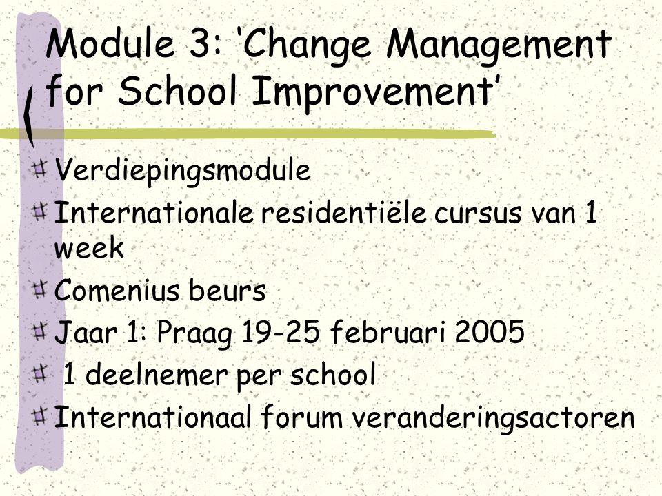 Module 3: 'Change Management for School Improvement' Verdiepingsmodule Internationale residentiële cursus van 1 week Comenius beurs Jaar 1: Praag 19-25 februari 2005 1 deelnemer per school Internationaal forum veranderingsactoren