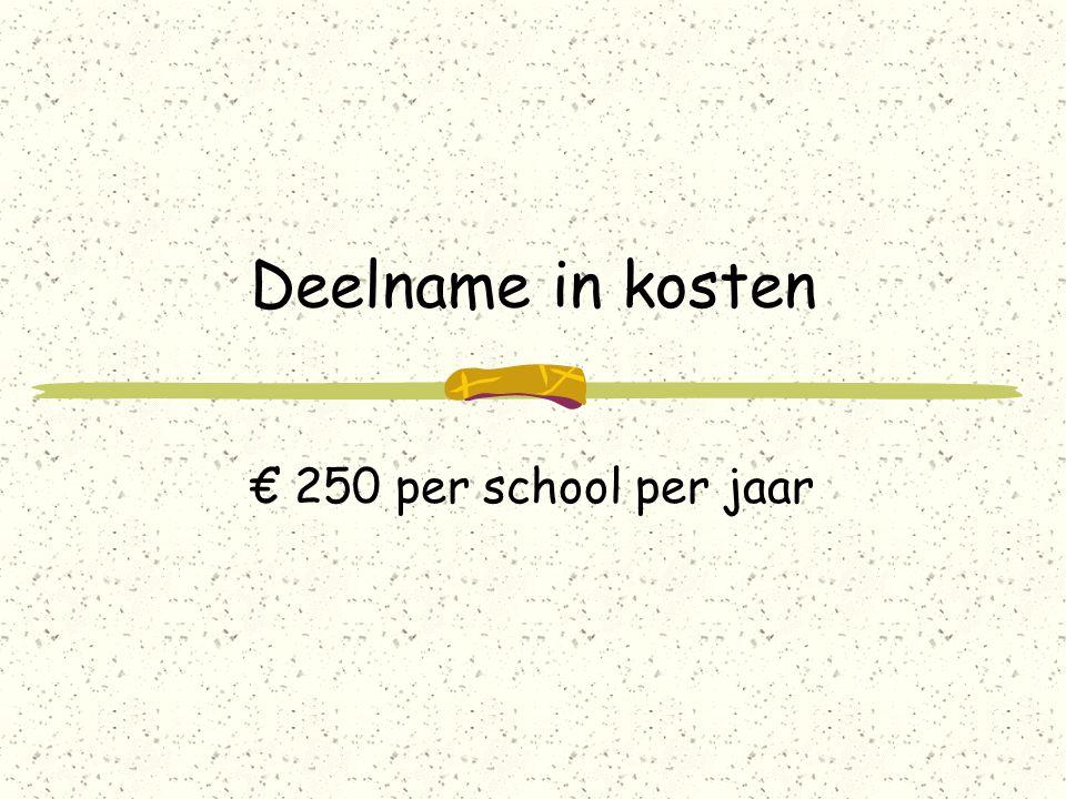 Deelname in kosten € 250 per school per jaar