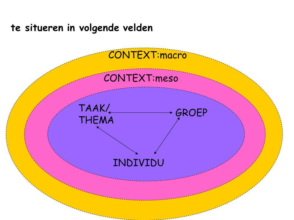 te situeren in volgende velden GROEP TAAK/ THEMA INDIVIDU CONTEXT:meso CONTEXT:macro