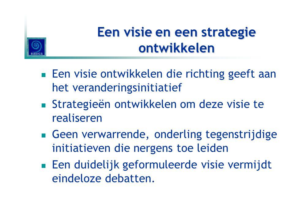 De visie (& strategie) communiceren De essentie van een visie moet je in minder dan 5 minuten kunnen formuleren Elk denkbaar kanaal gebruiken om visie en strategieën te communiceren Communiceren in woorden en DADEN