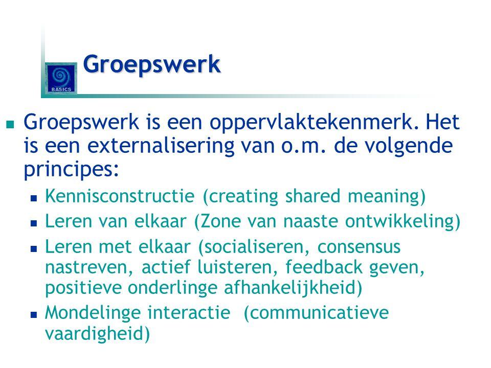 Groepswerk Groepswerk is een oppervlaktekenmerk. Het is een externalisering van o.m. de volgende principes: Kennisconstructie (creating shared meaning