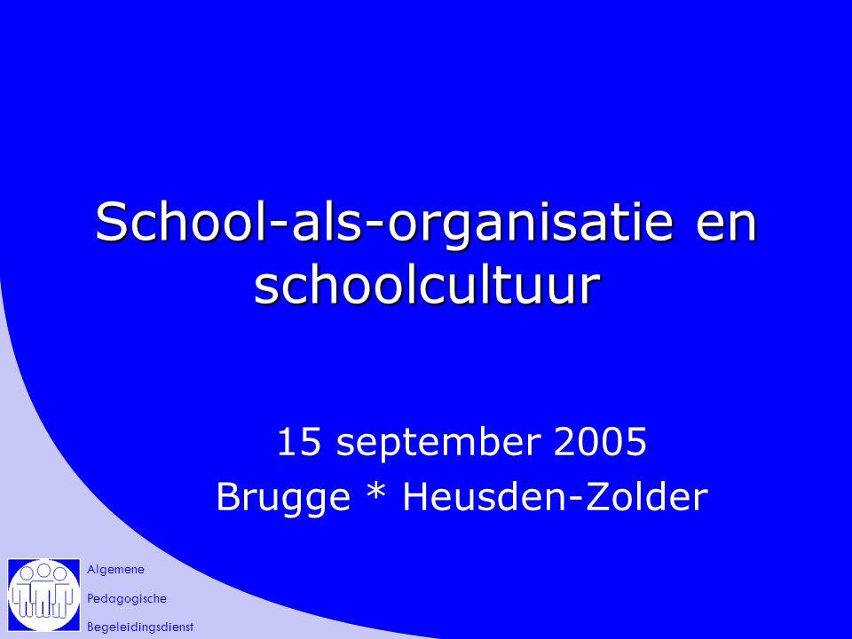 Algemene Pedagogische Begeleidingsdienst School-als-organisatie en schoolcultuur 15 september 2005 Brugge * Heusden-Zolder