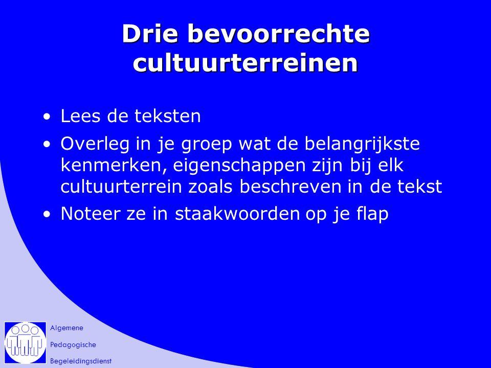 Algemene Pedagogische Begeleidingsdienst Drie bevoorrechte cultuurterreinen Lees de teksten Overleg in je groep wat de belangrijkste kenmerken, eigens