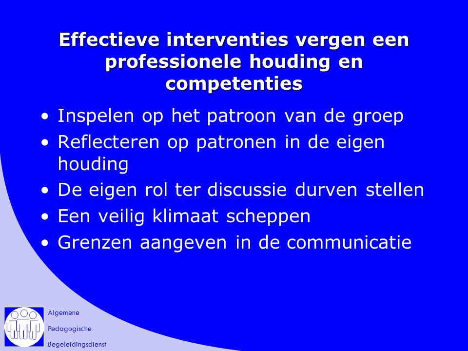 Algemene Pedagogische Begeleidingsdienst Effectieve interventies vergen een professionele houding en competenties Inspelen op het patroon van de groep