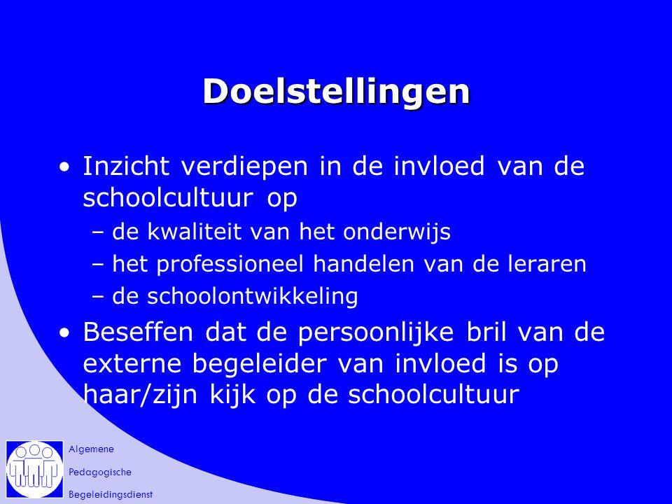 Algemene Pedagogische Begeleidingsdienst Doelstellingen Inzicht verdiepen in de invloed van de schoolcultuur op –de kwaliteit van het onderwijs –het p