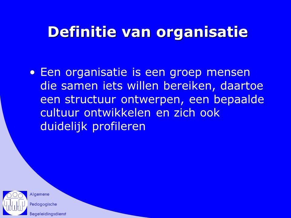 Algemene Pedagogische Begeleidingsdienst Definitie van organisatie Een organisatie is een groep mensen die samen iets willen bereiken, daartoe een str