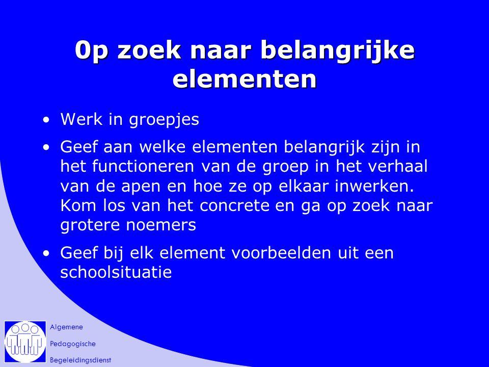 Algemene Pedagogische Begeleidingsdienst 0p zoek naar belangrijke elementen Werk in groepjes Geef aan welke elementen belangrijk zijn in het functione