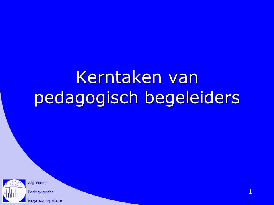 Algemene Pedagogische Begeleidingsdienst 42 Bij begeleidingsactiviteiten (van anderen / van zichzelf) de kerntaken van pedagogisch begeleiders pedagogisch begeleiders aangeven aangeven