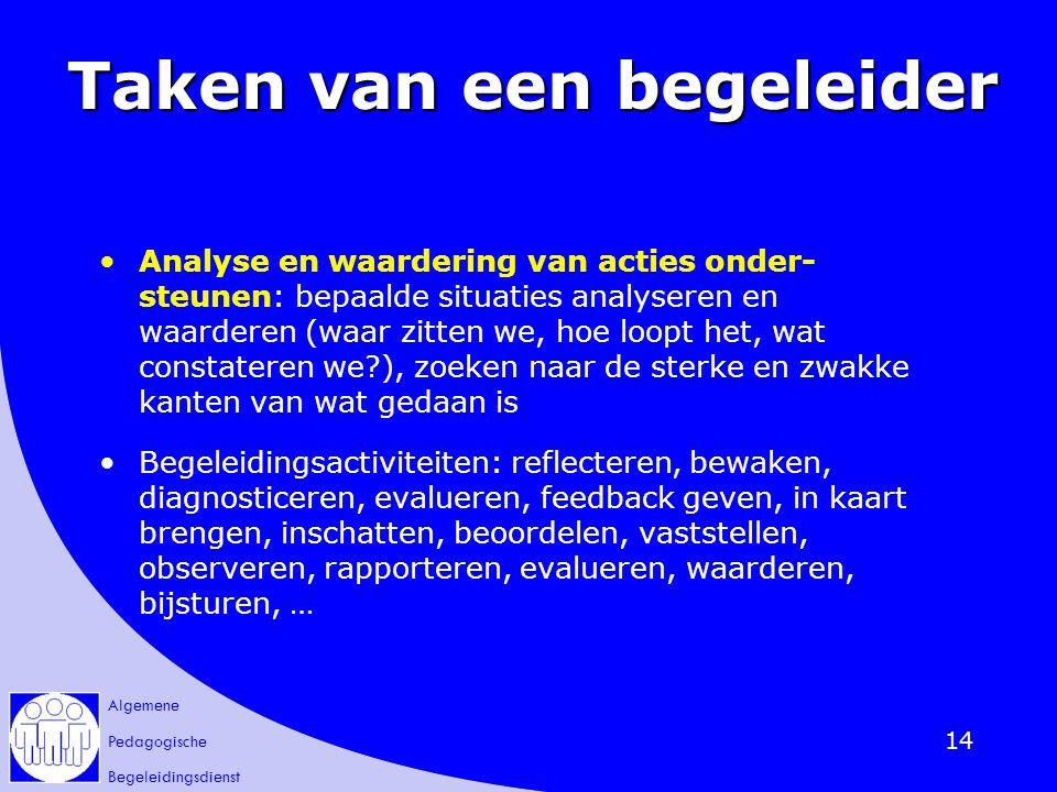 Algemene Pedagogische Begeleidingsdienst 14 Taken van een begeleider Analyse en waardering van acties onder- steunen: bepaalde situaties analyseren en