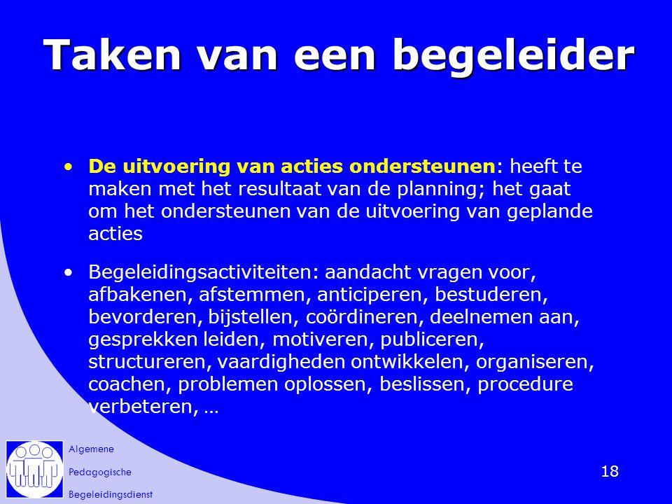 Algemene Pedagogische Begeleidingsdienst 18 Taken van een begeleider De uitvoering van acties ondersteunen: heeft te maken met het resultaat van de pl
