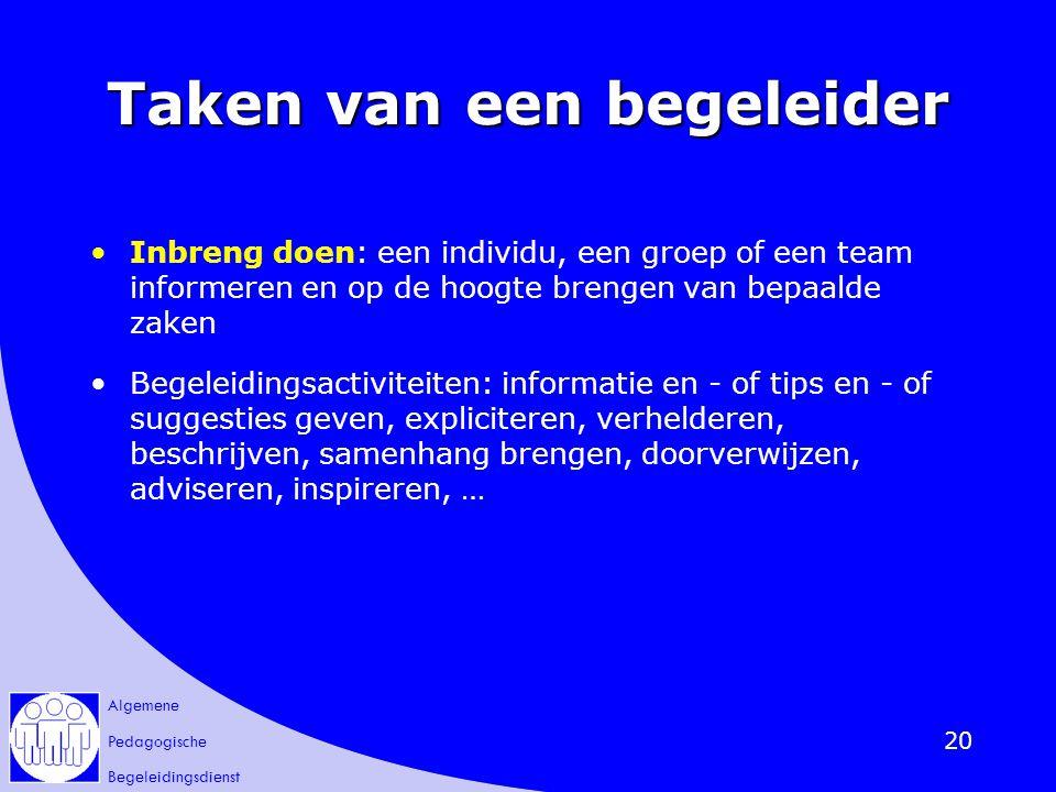 Algemene Pedagogische Begeleidingsdienst 20 Taken van een begeleider Inbreng doen: een individu, een groep of een team informeren en op de hoogte bren