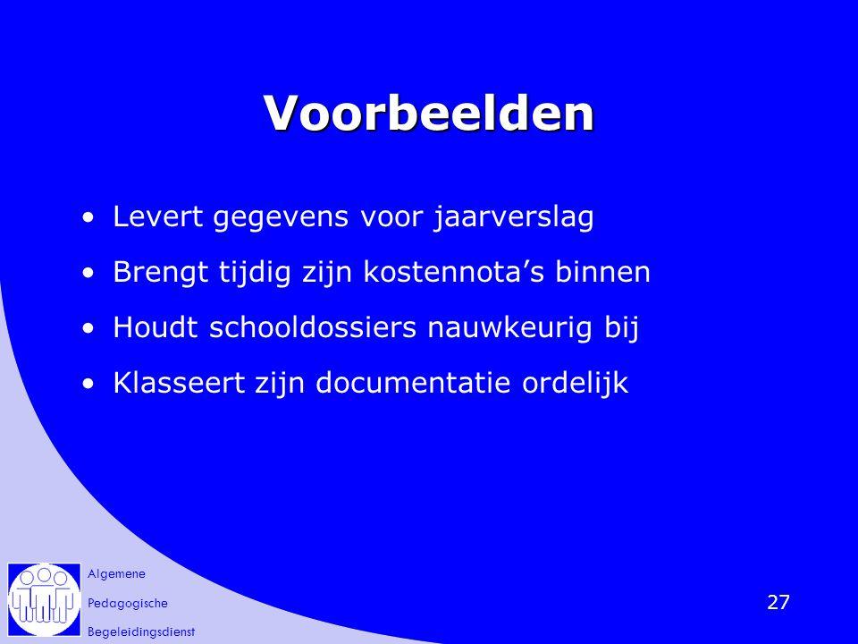 Algemene Pedagogische Begeleidingsdienst 27 Voorbeelden Levert gegevens voor jaarverslag Brengt tijdig zijn kostennota's binnen Houdt schooldossiers n