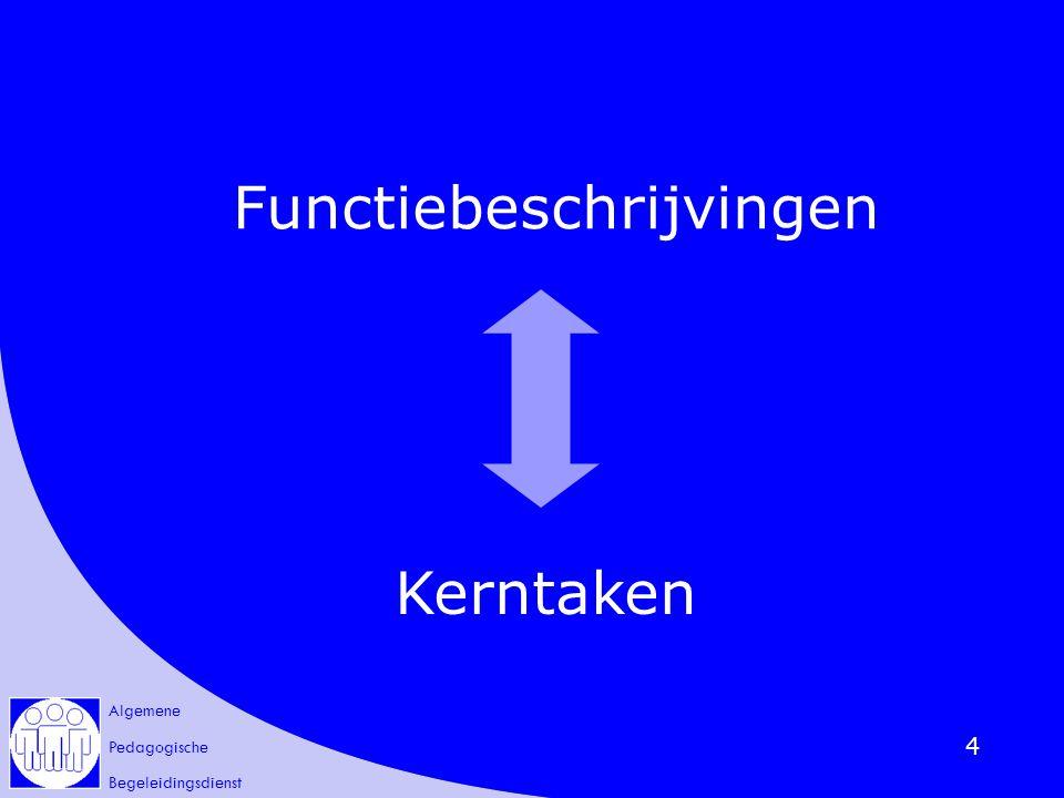 Algemene Pedagogische Begeleidingsdienst 5 Functiebeschrijvingen 'Functiebeschrijving van een pedagogisch begeleider van het katholiek onderwijs' goedgekeurd door de vzw PBDKO op 22 februari 2005 Kerntaken opgenomen