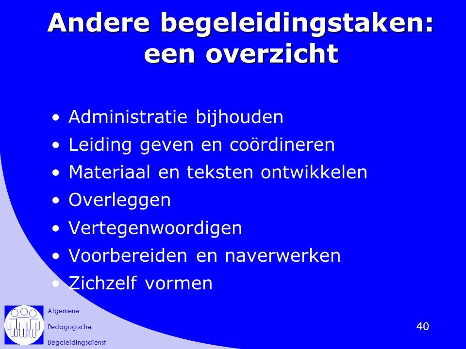 Algemene Pedagogische Begeleidingsdienst 40 Andere begeleidingstaken: een overzicht Administratie bijhouden Leiding geven en coördineren Materiaal en