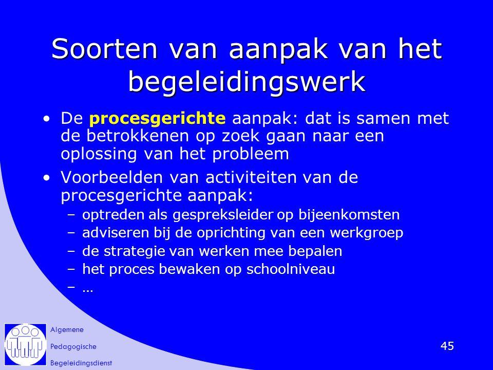 Algemene Pedagogische Begeleidingsdienst 45 Soorten van aanpak van het begeleidingswerk De procesgerichte aanpak: dat is samen met de betrokkenen op z
