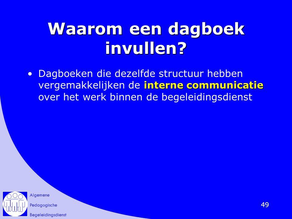 Algemene Pedagogische Begeleidingsdienst 49 Waarom een dagboek invullen? interne communicatieDagboeken die dezelfde structuur hebben vergemakkelijken