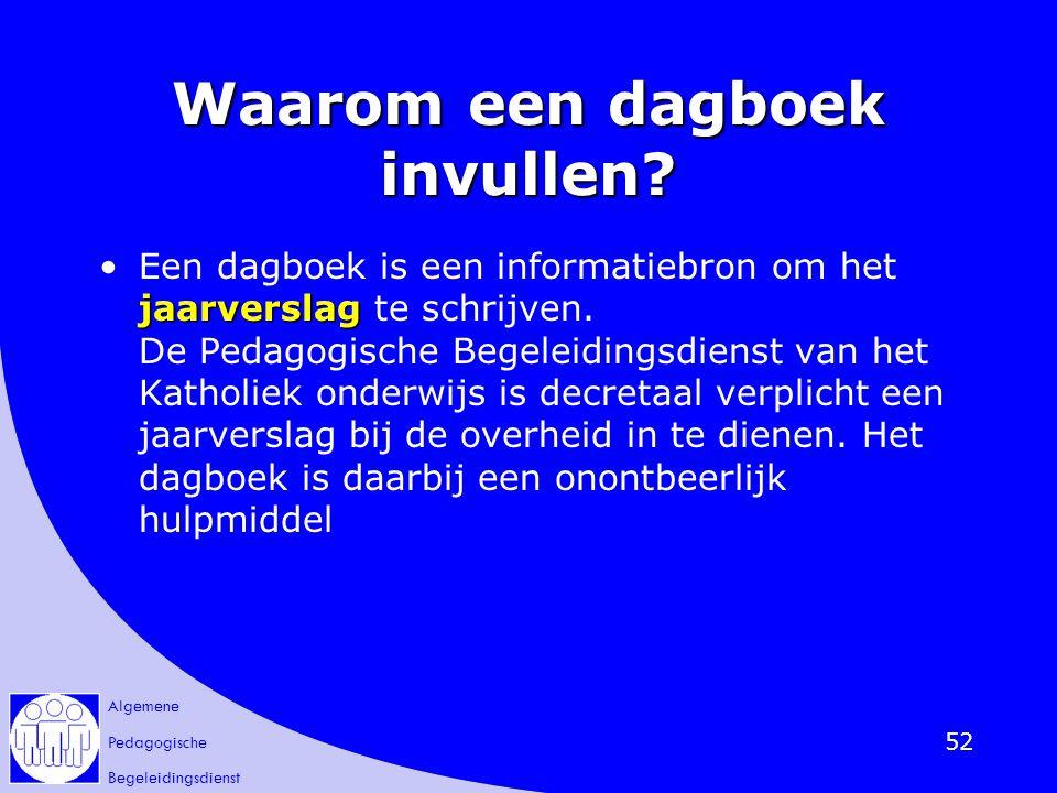 Algemene Pedagogische Begeleidingsdienst 52 Waarom een dagboek invullen? jaarverslagEen dagboek is een informatiebron om het jaarverslag te schrijven.