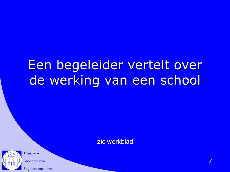Algemene Pedagogische Begeleidingsdienst 7 Een begeleider vertelt over de werking van een school zie werkblad