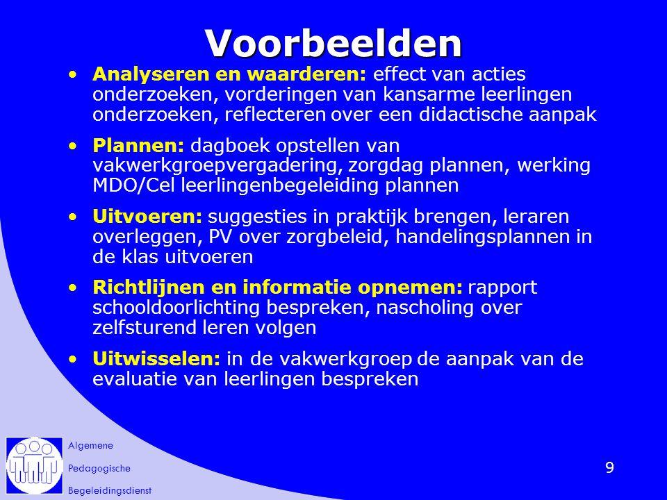 Algemene Pedagogische Begeleidingsdienst 10 Een begeleider vertelt over zijn interventies zie werkblad