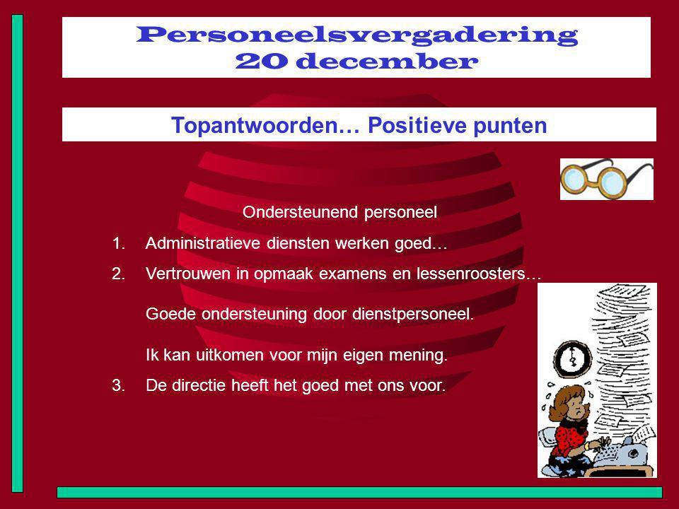 Personeelsvergadering 20 december Topantwoorden… Positieve punten Ondersteunend personeel 1.Administratieve diensten werken goed… 2.Vertrouwen in opma