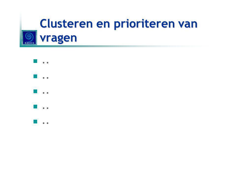 Clusteren en prioriteren van vragen..