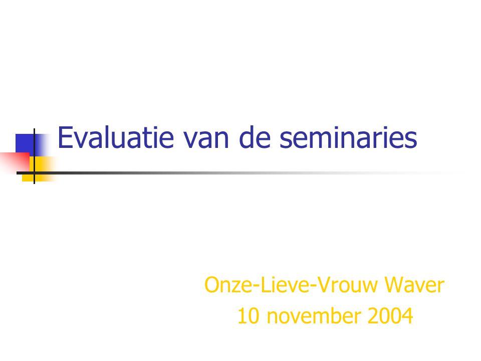 Evaluatie van de seminaries Onze-Lieve-Vrouw Waver 10 november 2004