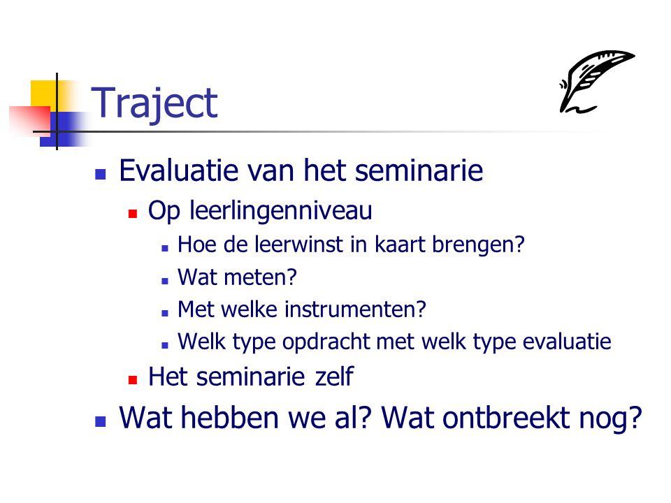 Traject Evaluatie van het seminarie Op leerlingenniveau Hoe de leerwinst in kaart brengen? Wat meten? Met welke instrumenten? Welk type opdracht met w