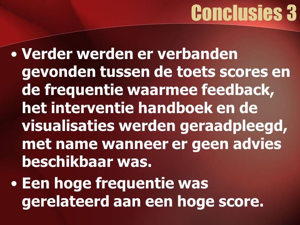 Conclusies 3 Verder werden er verbanden gevonden tussen de toets scores en de frequentie waarmee feedback, het interventie handboek en de visualisaties werden geraadpleegd, met name wanneer er geen advies beschikbaar was.