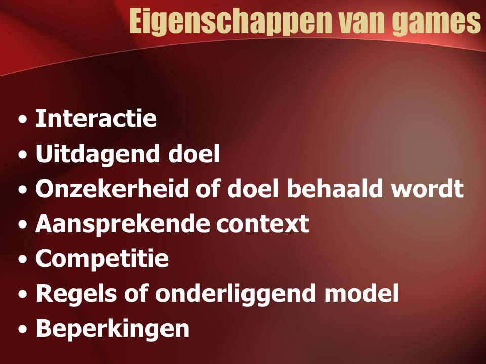 Eigenschappen van games Interactie Uitdagend doel Onzekerheid of doel behaald wordt Aansprekende context Competitie Regels of onderliggend model Beperkingen