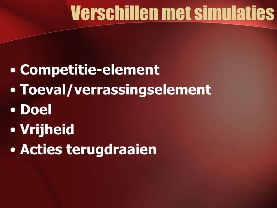 Verschillen met simulaties Competitie-element Toeval/verrassingselement Doel Vrijheid Acties terugdraaien
