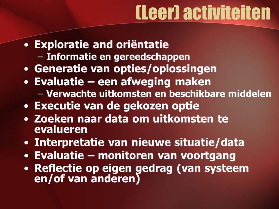 (Leer) activiteiten Exploratie and oriëntatie –Informatie en gereedschappen Generatie van opties/oplossingen Evaluatie – een afweging maken –Verwachte uitkomsten en beschikbare middelen Executie van de gekozen optie Zoeken naar data om uitkomsten te evalueren Interpretatie van nieuwe situatie/data Evaluatie – monitoren van voortgang Reflectie op eigen gedrag (van systeem en/of van anderen)