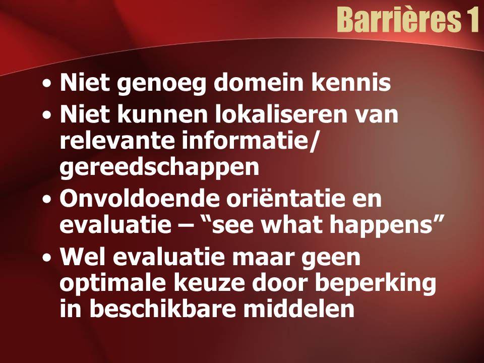 Barrières 2 Geen mogelijkheid te experimenteren en oplossingen te vergelijken Reflectie en evaluatie moeilijk door ontbreken van –Data over eigen/systeem gedrag –Specifieke doelen –Proces feedback –Inzicht in het complexe onderliggende model –Inzicht in de rol van spelelementen op uitkomsten