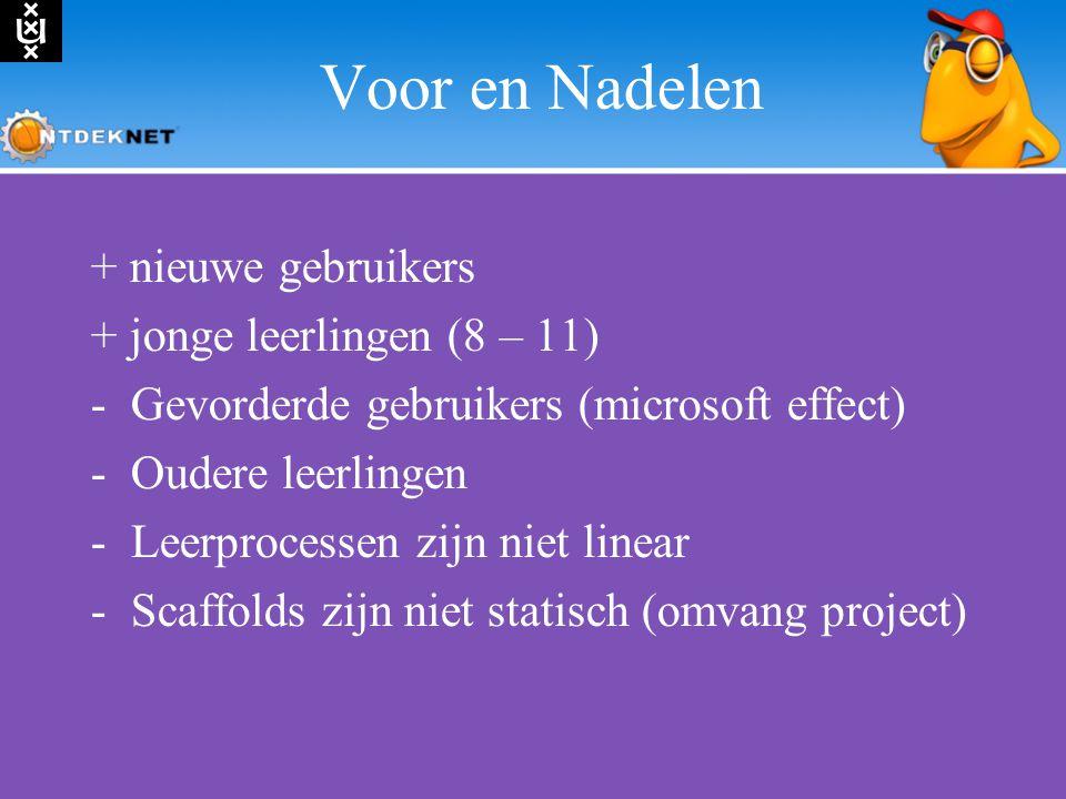 Voor en Nadelen + nieuwe gebruikers + jonge leerlingen (8 – 11) -Gevorderde gebruikers (microsoft effect) -Oudere leerlingen -Leerprocessen zijn niet linear -Scaffolds zijn niet statisch (omvang project)