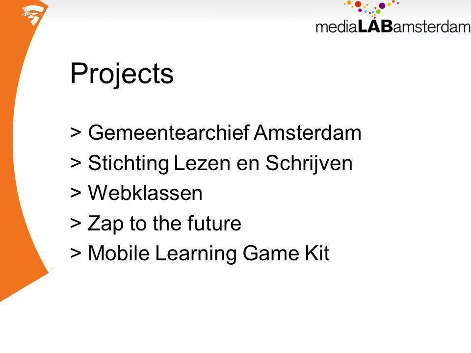 Mobile Learning Game Kit Surf Onderwijsvernieuwingsproject budget: € 400.000 >Waag Society >UvA Media Studies >Media Lab Amsterdam >http://www.mlgk.nl/