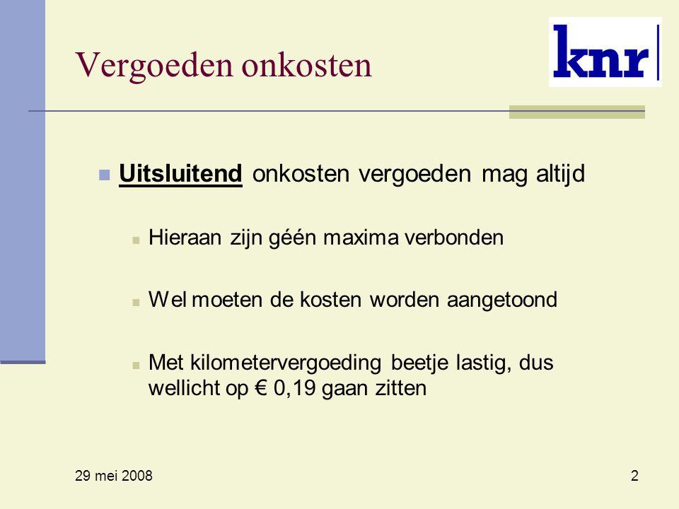 29 mei 2008 2 Vergoeden onkosten Uitsluitend onkosten vergoeden mag altijd Hieraan zijn géén maxima verbonden Wel moeten de kosten worden aangetoond Met kilometervergoeding beetje lastig, dus wellicht op € 0,19 gaan zitten