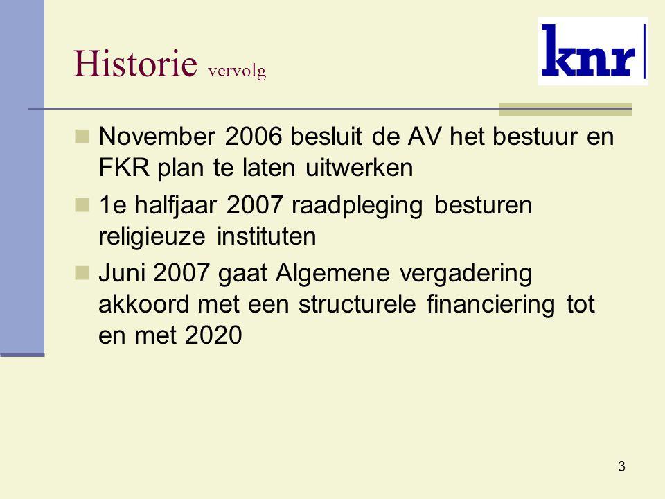 3 Historie vervolg November 2006 besluit de AV het bestuur en FKR plan te laten uitwerken 1e halfjaar 2007 raadpleging besturen religieuze instituten Juni 2007 gaat Algemene vergadering akkoord met een structurele financiering tot en met 2020
