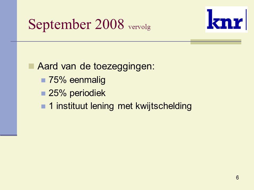 6 September 2008 vervolg Aard van de toezeggingen: 75% eenmalig 25% periodiek 1 instituut lening met kwijtschelding