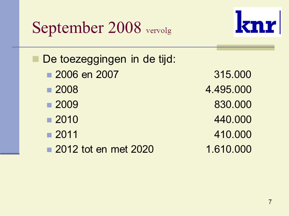 7 September 2008 vervolg De toezeggingen in de tijd: 2006 en 2007 315.000 2008 4.495.000 2009 830.000 2010 440.000 2011 410.000 2012 tot en met 2020 1.610.000