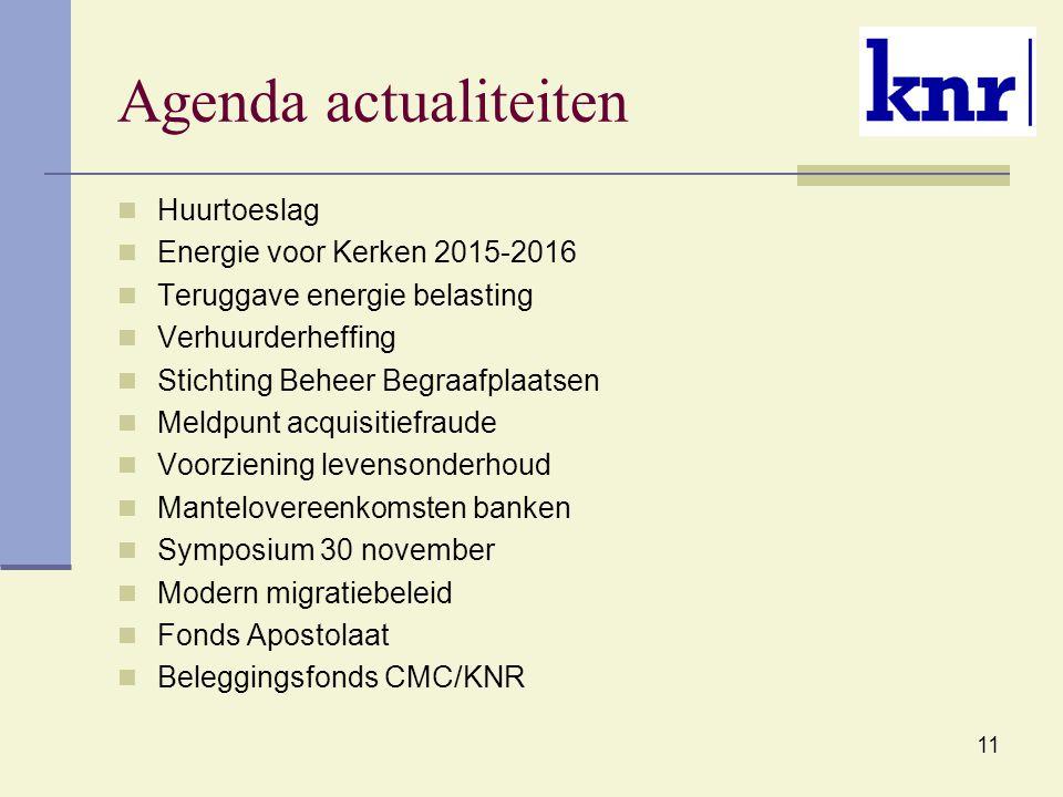 11 Agenda actualiteiten Huurtoeslag Energie voor Kerken 2015-2016 Teruggave energie belasting Verhuurderheffing Stichting Beheer Begraafplaatsen Meldp