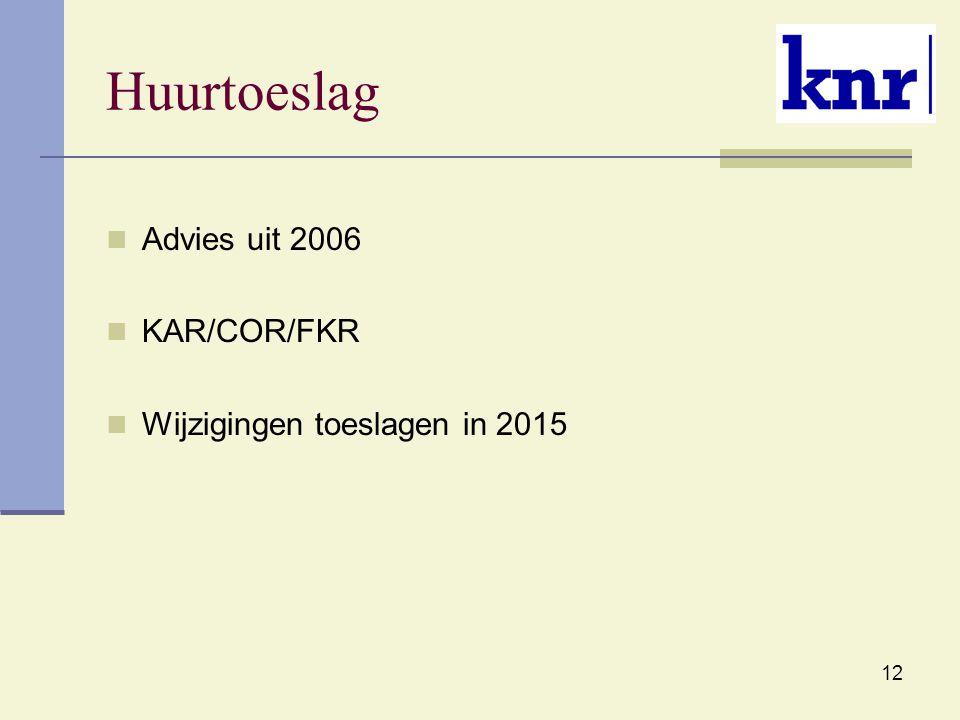 12 Huurtoeslag Advies uit 2006 KAR/COR/FKR Wijzigingen toeslagen in 2015