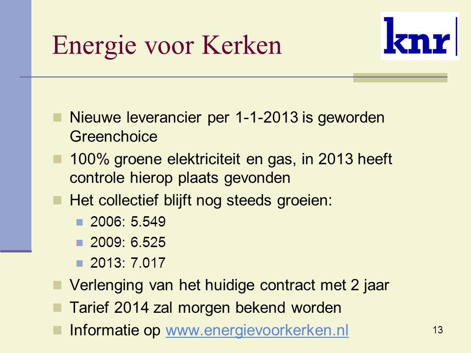 13 Energie voor Kerken Nieuwe leverancier per 1-1-2013 is geworden Greenchoice 100% groene elektriciteit en gas, in 2013 heeft controle hierop plaats