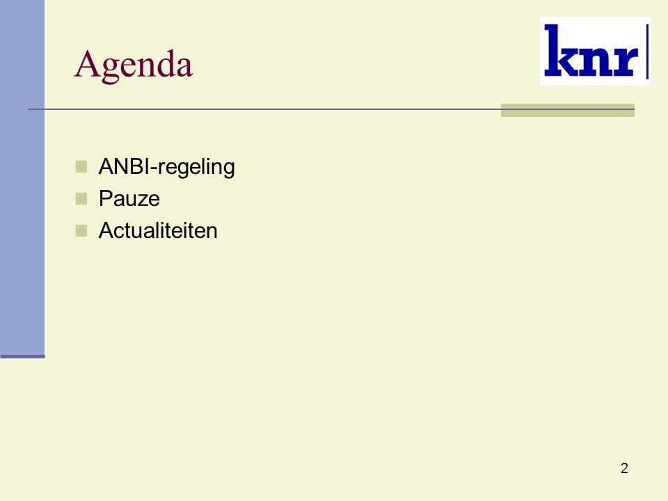 3 ANBI regeling Vanaf 1 januari 2014 verandert de regelgeving voor algemeen nut beogende instellingen Nieuw aantal voorwaarden om vertrouwen van het publiek in de filantropische sector te bevorderen Groepsbeschikking aparte positie