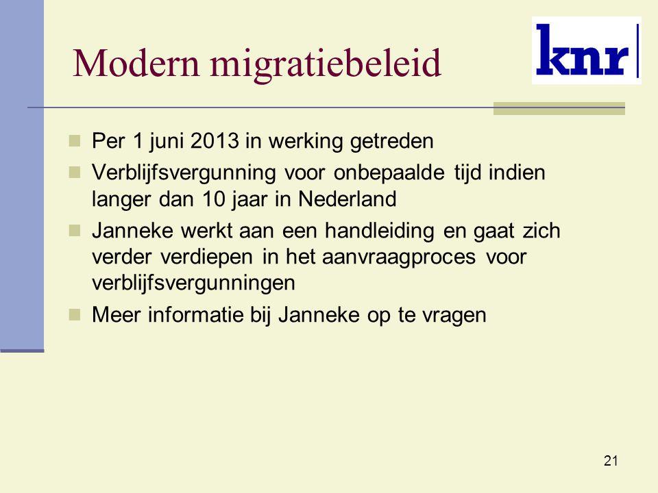 21 Modern migratiebeleid Per 1 juni 2013 in werking getreden Verblijfsvergunning voor onbepaalde tijd indien langer dan 10 jaar in Nederland Janneke w