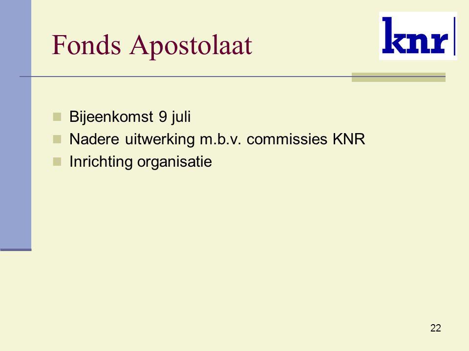 22 Fonds Apostolaat Bijeenkomst 9 juli Nadere uitwerking m.b.v. commissies KNR Inrichting organisatie