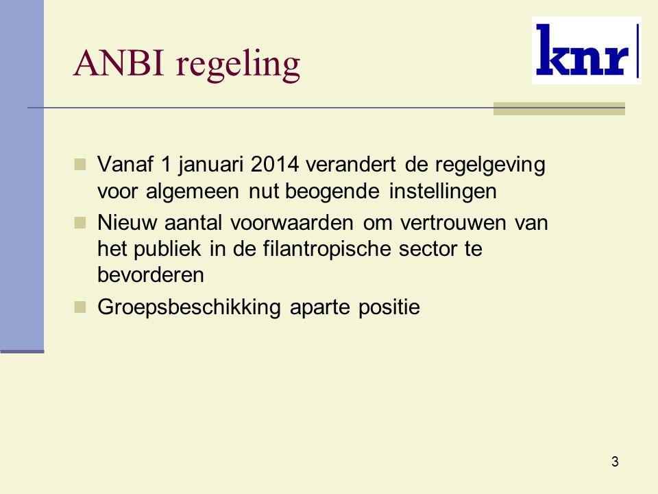 3 ANBI regeling Vanaf 1 januari 2014 verandert de regelgeving voor algemeen nut beogende instellingen Nieuw aantal voorwaarden om vertrouwen van het p