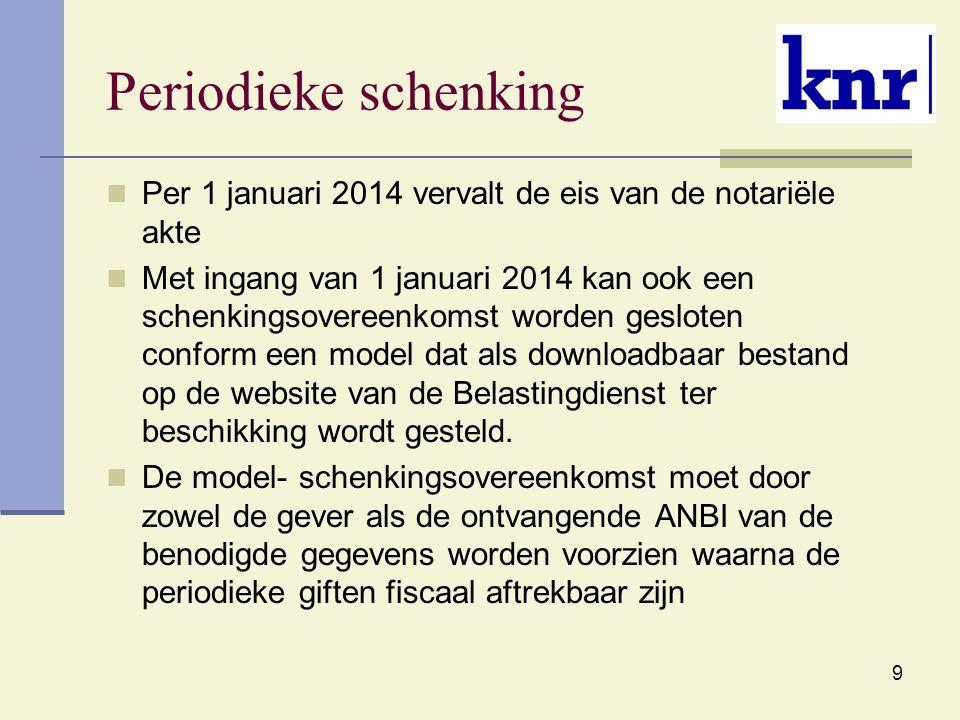 9 Periodieke schenking Per 1 januari 2014 vervalt de eis van de notariële akte Met ingang van 1 januari 2014 kan ook een schenkingsovereenkomst worden