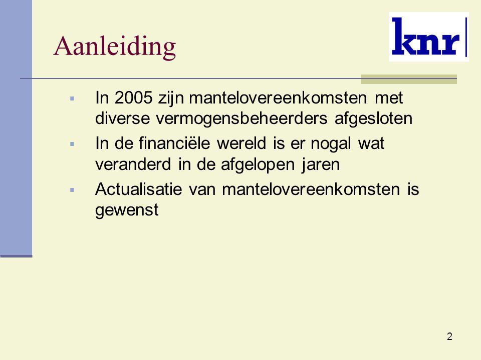2 Aanleiding  In 2005 zijn mantelovereenkomsten met diverse vermogensbeheerders afgesloten  In de financiële wereld is er nogal wat veranderd in de