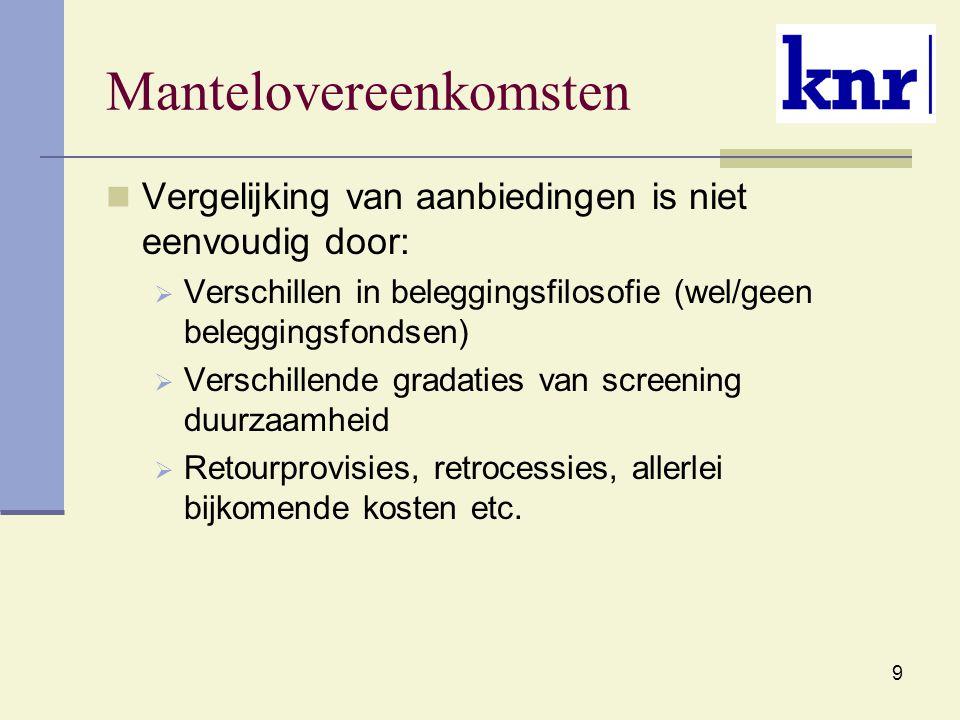 9 Mantelovereenkomsten Vergelijking van aanbiedingen is niet eenvoudig door:  Verschillen in beleggingsfilosofie (wel/geen beleggingsfondsen)  Verschillende gradaties van screening duurzaamheid  Retourprovisies, retrocessies, allerlei bijkomende kosten etc.