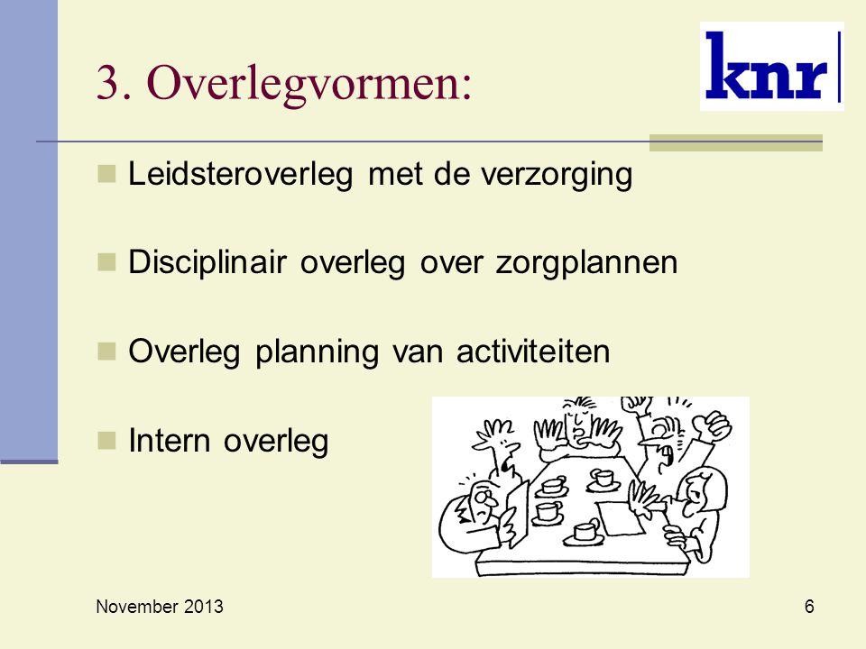 6 3. Overlegvormen: Leidsteroverleg met de verzorging Disciplinair overleg over zorgplannen Overleg planning van activiteiten Intern overleg